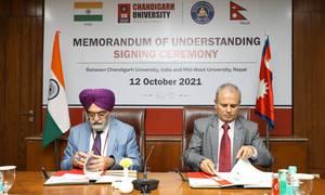 मध्यपश्चिम र भारतको चण्डीगढ विश्वविद्यालयबीच समझदारी पत्रमा हस्ताक्षर