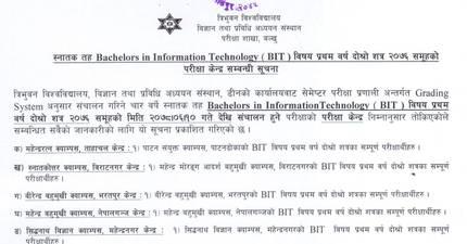 BIT Second Semester Examination Center: Tribhuvan University
