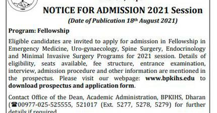 Fellowship Opportunities at B.P. Koirala Institute of Health Sciences