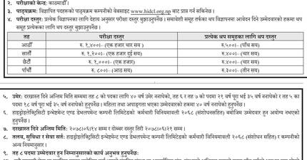 Vacancy for Various Positions: Hydro-Electricity Investment and Development Company Limited