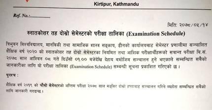 MA Second Semester Examination Routine: Tribhuvan University