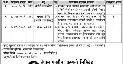 Vacancies for Various Posts at Nepal Re-Insurance Company Limited